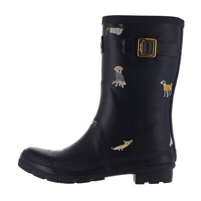 Joules Mid Rain Boots Molly Welly Navy Harbor Dog 9M NEW A367133 • 66.98$