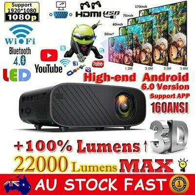 AU132.99 • Buy 4K HD 1080P Android Wifi Bluetooth Video Projector 22000 LM Home Theatre Cinema