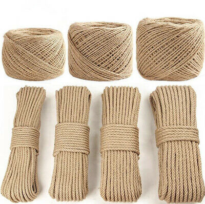 Natural Jute Twine Hessian Rope Twisted Garden Decking DIY Cord 8mm-40mm Thick • 11.94£