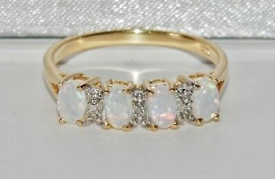 9CT YELLOW GOLD & SILVER OPAL & DIAMOND LADIES ETERNITY RING ~ Size U • 35.10£