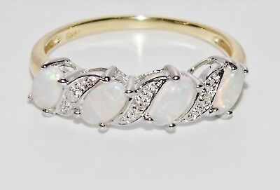 9CT YELLOW GOLD & SILVER OPAL & DIAMOND LADIES ETERNITY RING - Size S • 39£