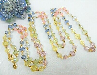 Joan Rivers Gold Tone Multi Color Faux Crystal Acrylic Bead Necklace 58  • 7.50$