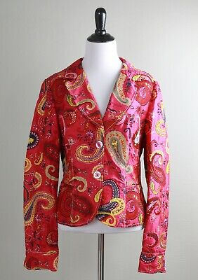 $44.99 • Buy GEIGER 100% Silk Vibrant Paisley Embroidered Lined Jacket Top Size 40