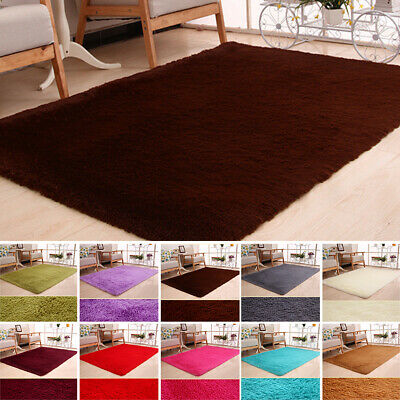 AU27.96 • Buy Small Large Size Thick Plain Soft Shaggy Anti-Skid Rug Modern Carpet Floor Mat