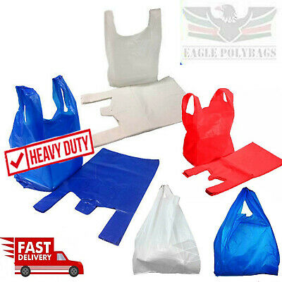 Plastic Vest Carrier Bags Blue White Red Supermarkets Stalls Shops Strong Bags • 4.59£