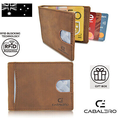 AU24.95 • Buy Cabaleiro Mens Slim Brown Leather Bifold Wallet With RFID Blocking & Money Clip