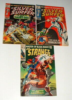 1960s SILVER SURFER ISSUE #7 AND 9 COMIC BOOKS AND DR STRANGE 182 EXCELLENT • 9.99$