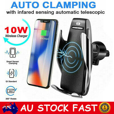 AU15.19 • Buy Qi Wireless Fast Charger Car Mount Phone Holder Automatic Clamping Smart Sensor