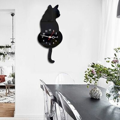 AU21.78 • Buy 3D Cute Cat Wall Clock Wag Tail Silence Home Decoration Kids Gift Black V6W5