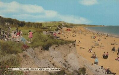 The Sands Looking North, Hopton-On-Sea - 1960s Norfolk Postcard • 2.50£
