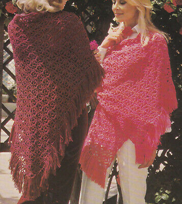 Crochet Pattern To Make Ladies A Lace Stole & Shawl Patons Cameo Crepe • 1.99£