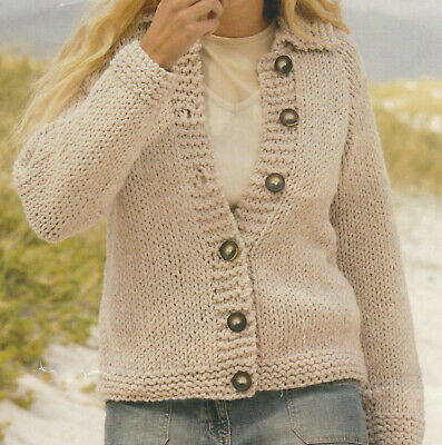 £1.99 • Buy Knitting Pattern Ladies Very Chunky Cardigan Very Quick & Easy To Knit 32-42
