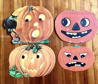 $ CDN26.41 • Buy Lot Of 4 Vintage Diecut HALLOWEEN Pumpkins Jack O Lanterns LOHRS ~ Dennison USA