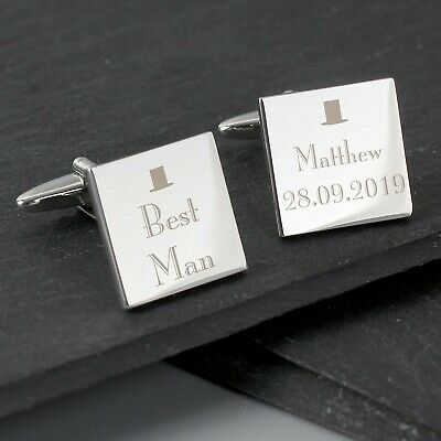 £10.99 • Buy Personalised Decorative Wedding Square Cufflinks Best Man Groom Father Of Bride