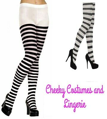 Black And White Striped Tights Wally Elf Alice One Size 8-14 Approx • 3.40£