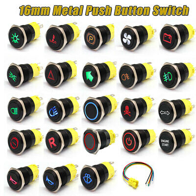 16mm 12V-24V Waterproof Car LED Power Push Button Momentary Switch Metal ON/OF • 4.49£