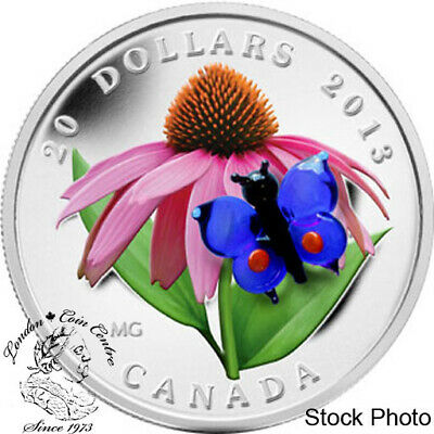 $114.07 • Buy Canada 2013 $20 Purple Coneflower With Venetian Glass Butterfly Silver Coin