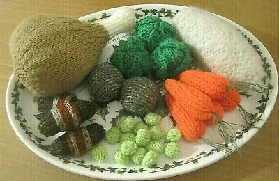 A Hand Knitted Delicious Turkey Christmas Dinner + Pudding. Eat Your Sprouts • 19.99£