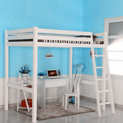 3FT High Sleeper Bed Cabin Loft Bed Solid Wood Frame Childrens Kids Single White • 182.95£