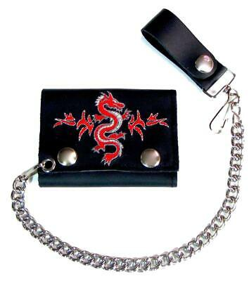 $12.95 • Buy EMBROIDERED CHINESE DRAGON TRI FOLD BIKER WALLET With CHAIN Mens LEATHER #590