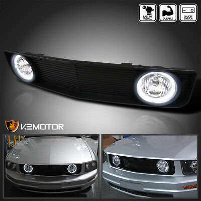 $91.56 • Buy For 2005-2009 Ford Mustang V6 Black Front Hood Grill Grille W/ Clear Fog Lights