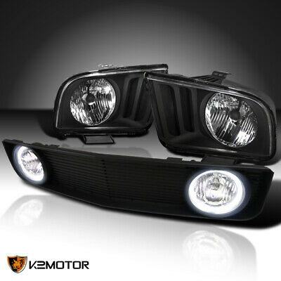 $177.42 • Buy For 2005-2009 Ford Mustang V6 Black Headlights+Hood Grille W/ Clear Fog Lamps