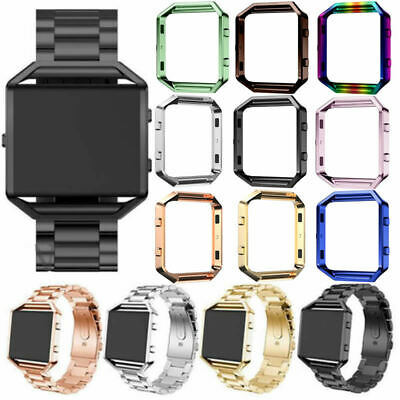 AU13.87 • Buy Stainless Steel Wrist Band Strap Case For Fitbit Blaze Wristband Frame Cover Set