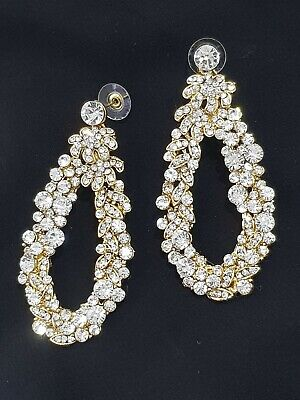 £4.99 • Buy New Bollywood Silver Diamond On Gold Large Party Wedding Fashion Earrings