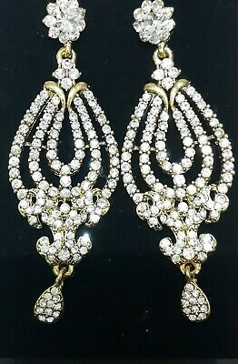 New Bollywood Silver Diamond On Gold Large Party Wedding Fashion Earrings  • 4.99£