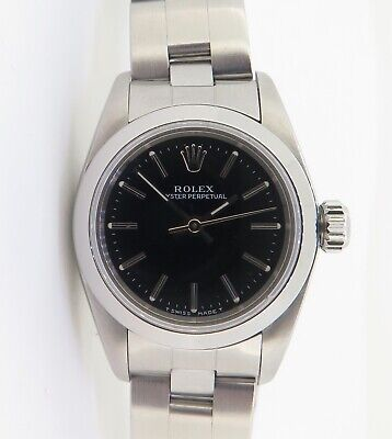 AU3850 • Buy .1998 Rolex Oyster Perpetual Steel Ladies Watch 67180 With Black Dial + Box