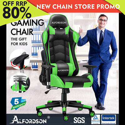 AU129.85 • Buy ALFORDSON Gaming Chair Office Executive Racing Seat PU Leather REGAN Green