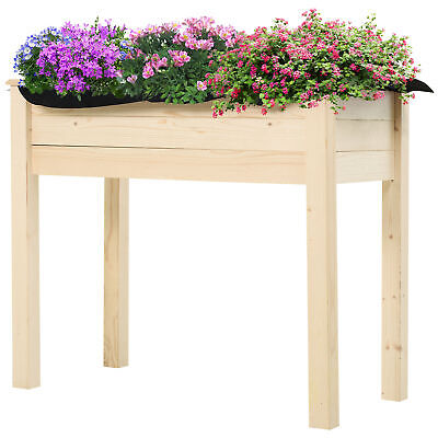 Outsunny Garden Wooden Planter Flower Raised Bed Herb Grow Box Container • 56.99£