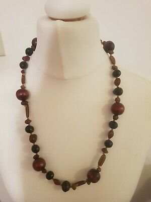 Handmade Wooden Graduated Bead Necklace Boho Style • 1.50£
