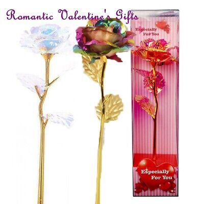 Galaxy Rose Flower Valentine Day Romantic Crystal Rose With Box Set Gift UK • 2.29£