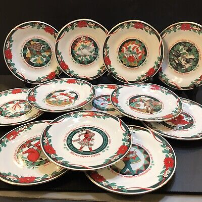 $55 • Buy 12 Days Of Christmas Dessert Canape Snack Plate Set Deck The Halls 7.5 Tienshan