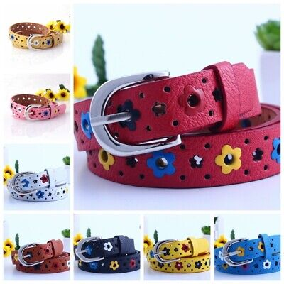 $6.39 • Buy Cute Kids Boys Girls Candy Color Belt Flower Buckle PU Leather Waistband Strap