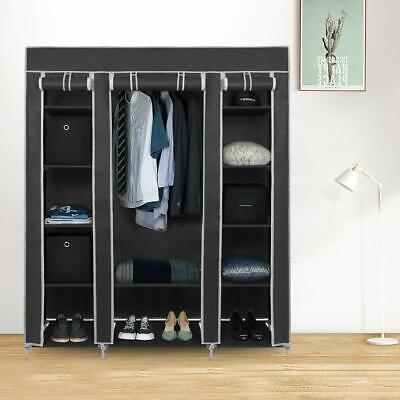 £23.99 • Buy Large Canvas Fabric Wardrobe With Hanging Rail Shelving Clothes Storage Cupboard