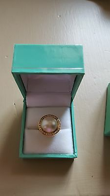 $699.99 • Buy Mabe Pearl And Diamond Ring ~ 14kt ~ Size 5.5