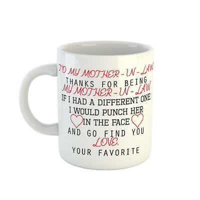 £5.99 • Buy Thanks For Being My Mother In Law Funny Printed Coffee Tea White Family Gift Mug