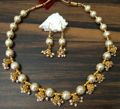 $17.99 • Buy Indian Gold Plated Ethnic Bridal Pearl Ghungro Choker Necklace Jewelry Set White