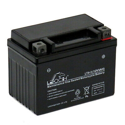 Leoch LT4-3 Sealed Upgrade Motorcycle AGM Battery Replaces YTX4L-BS, YTX4LBS • 18.99£