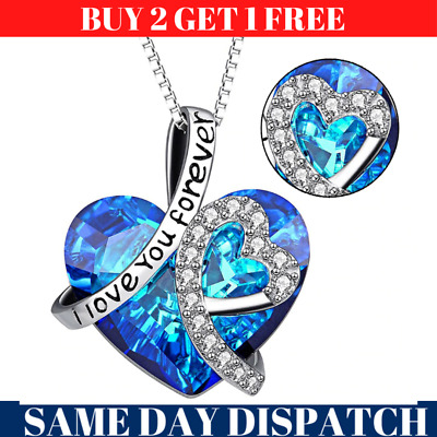 Heart Crystal Pendant 925 Silver Plated Chain Necklace Womens Ladies Jewellery • 4.99£