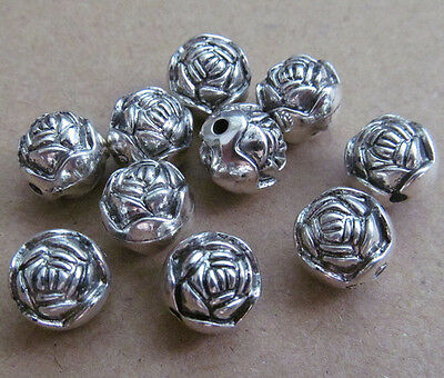 100pc Retro Plastic Electroplating 2-Sided Rose Spacer Beads Accessories PJ0120 • 4£