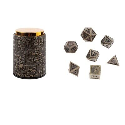 AU13.84 • Buy Egyptian Dice Cup With 7pcs Bronze Metal Polyhedral Dices For DnD Pathfinder