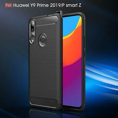 AU7.21 • Buy For Huawei Y9 Prime 2019 Shockproof Carbon Fibre Gel Phone Case+Screen Protector