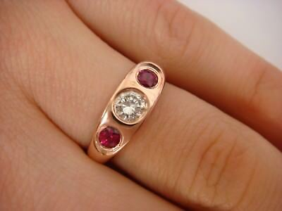 $750 • Buy 0.60 Ct T.w. 14k Rose Gold Large Diamond And Two Rubies Ladies Gypsy Ring Size 5