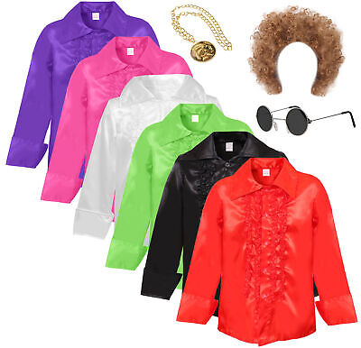Adults 1970s Disco Ruffle Shirt 60s Party Frilly Night Mens Fancy Dress Costume • 13.99£