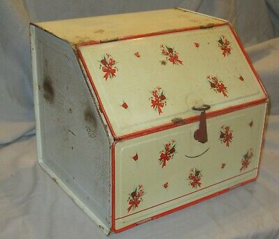 $85 • Buy Vintage TIN BREAD BOX 2 HINGED DOORS & PIE SHELF Antique Farm RED FLORAL CABINET