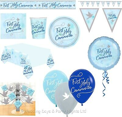 Boys Blue 1st First Holy Communion Tableware Banners Balloons Party Decorations • 3.25£