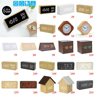Wooden LED Digital Alarm Clock Voice Control Calendar Thermometer USB/AAA Table • 18.04£